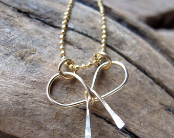 Gold Bow Necklace Charm - Ribbon Pendant - Bowknot Link Connector for Bracelet - Earring Dangles - Handmade Jewelry Supplies