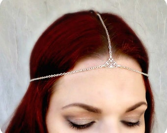 Silver Hair Chain - Boho Headpiece - Filigree Hair Jewelry - Beach Hair Jewelry - Free People Style