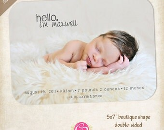 Boutique Hello Birth Announcements - Set of 25
