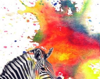 Zebra Art Animal Nurery Art From Original Watercolor Painting Art Print 13x19 in Nursery Decor Art Zebra Animal Nursery Wall Decor