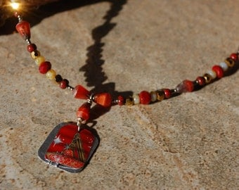 Recycled Japanese beer can and shed flashing necklace