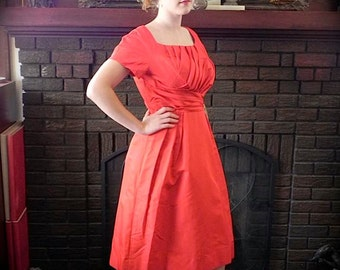 Vintage 1950s Red Silk Dress - 50s Scarlett Stunner Party Dress with Shelf Bust S M - on sale