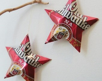 Old Milwaukee N.A. Non-Alcoholic  Beer Stars Christmas Ornaments Aluminum Can Upcycled
