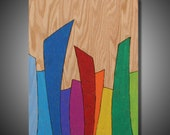 "Rainbow Grass: Original Abstract Art on Solid Red Oak Panel - Pyrography - Prismacolor - Multicolor - 11.25"" x 16"""