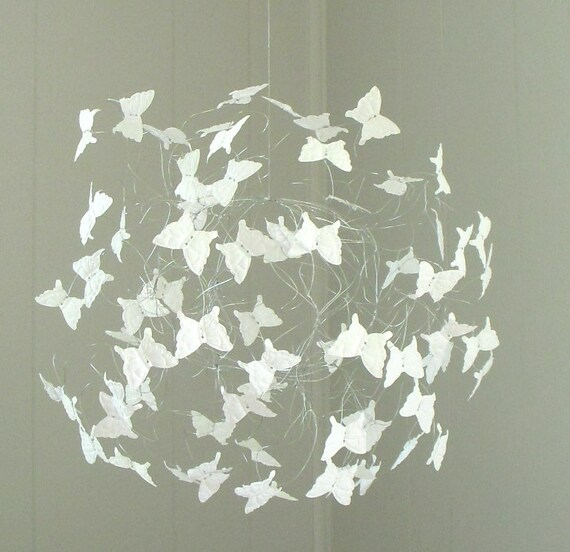 White butterfly mobile baby shower gift nursery by - Decoracion con mariposas ...