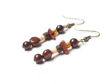 Handmade Autumn Falls- Amber Brown Rouge Earrings