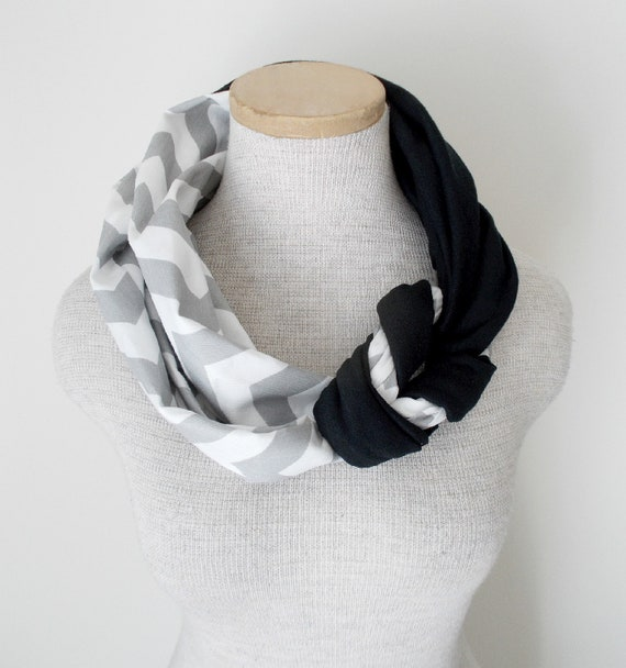 Half Braided Knot Scarf - Grey and White Chevron and Black Jersey