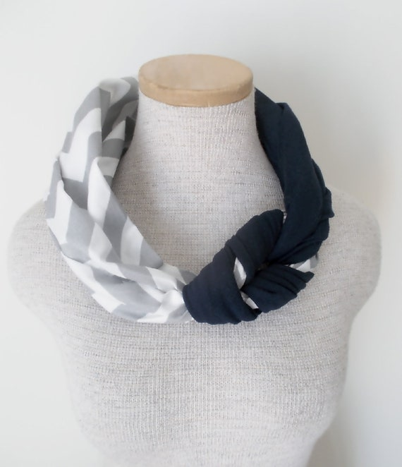 Half Braided Knot Scarf - Grey and White Chevron and Navy Blue