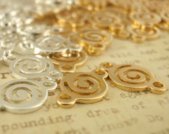 10 Swirly Circle Links -  17mm - Silver Plated  or Gold Plated - 100% Guarantee