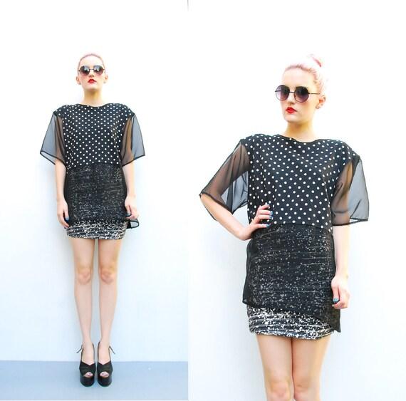 80s Polka Dot Tshirt - Sheer Blouse - Black Colorblock Shirt - 1980s Goth Oversized Slouch Top - Black // White - S M L