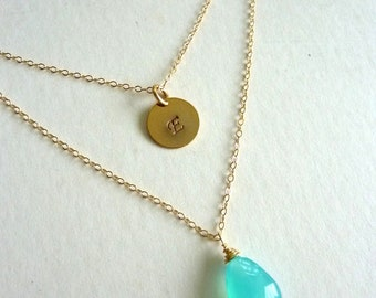 Custom Stone , Fancy Script Initial Disk  Double Layer Chain Necklace in Gold Filled Chain