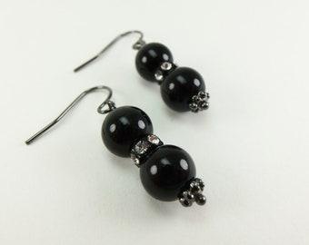 Black Glass Beaded Earrings Crystal Jewelry