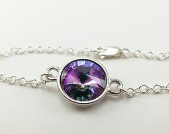 Light Multi Color Crystal Chain Bracelet Sterling Silver Modern Minimalist Crystal Bracelet Purple Pink Mint Green