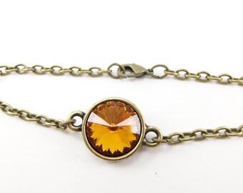 Citrine Bracelet Crystal November Birthstone Jewelry Chain Bracelet Birthstone Bracelet Rivoli