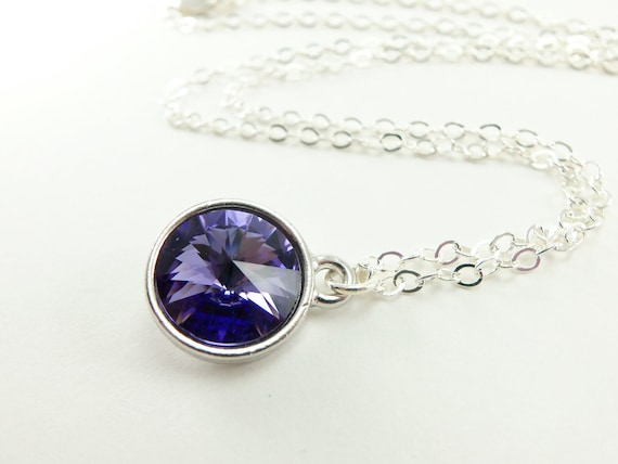 Silver Purple Necklace Swarovski Crystal Circle Necklace Rivoli Sterling Silver Necklace Pendant