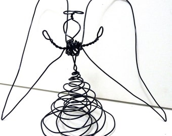 Black Wire Angel - XL- Christmas Decoration and tree topper- double skirt