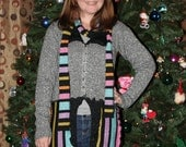 SALE! Recycled Metallic Sweater Coat, Scarf / Silver Shiny Multicolor Stripe / Upcycled OOAK