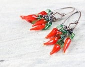 Hot Red Chili Pepper Earrings, Fun Cluster of Chilli Peppers. Red earrings, Whimsical Kitsch Earrings, gift for chilihead, capsicum lover