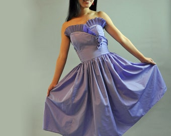70s vintage PARTY DRESS / Strapless Dress Ruffled Dress / vintage prom dress w/ ruffle bodice & Full Skirt S / Small