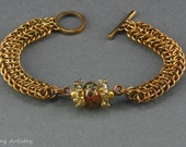 """Chainmaille Bracelet, jewelry brass, bronze and lampwork bead, Oval Weave, """"River Rock"""""""