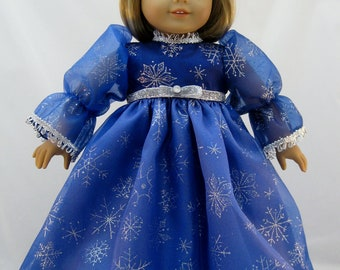 American Girl Doll sized Blue Snowflake Princess Dress with A Rhinestone Tiara