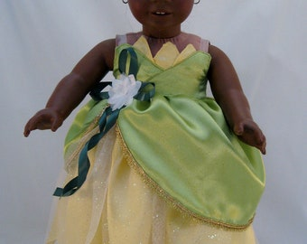 American Girl Doll Sized Princess Tiana Wedding Dress Princess and the Frog