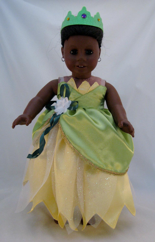 American girl doll sized princess tiana wedding dress princess for Princess tiana wedding dress