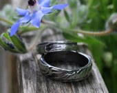 Set of bark textured silver wedding rings: Inside Out