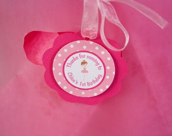 Ballerina Themed FAVOR TAGS in Pink Happy Birthday Party Decorations - Ballerina Party - Ballet Birthday - Tutu Birthday - Hot & Light Pink