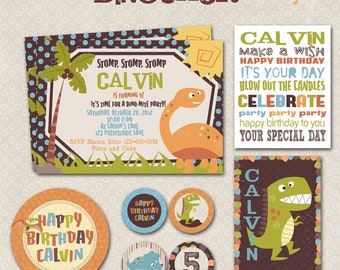 Dinosaur Party Printable Kit, Custom