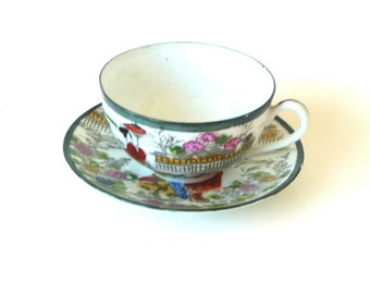 Tea Cup - Saucer - 1950s - Vintage Fine China - Japan - Geisha - Pagoda - Chinoiserie - Flowers - Floral - Recycled - Retro - Painted