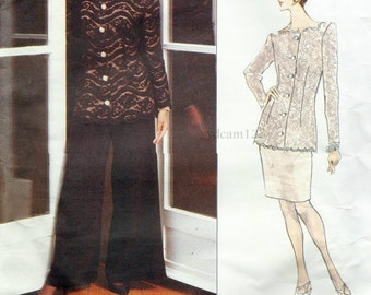 1993 Button Front Lace Jacket Shaped Neckline and Pencil Skirt or Wide Leg Pants...Vogue 1286 Bust 30.5 to 32.5 UNCUT