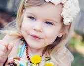 Ivory Hair Bow - Ivory Chiffon Rose Hair Bow Headband or Hair Clip - Baptism, Christening, Wedding, Baby, Toddler, Child Girls Headband