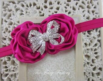 Hot Pink Flower Headband - Hot Pink / Fuchsia Satin Rosette Duo w/ Sparkling Rhinestone Bow Headband -  Baby Toddler Child Girls Headband