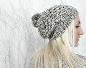 Pom Pom Beanie- Grey Knit Hat- Womens Winter Beanie- Gift for Her- Womens Gift- Grey Pompom Beanie- Winter Accessories- Patterned Beanie