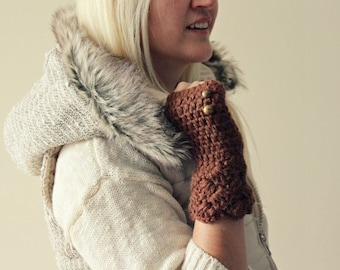 knit gloves . brown fingerless gloves . knit winter gloves . crochet fingerless gloves . womens knit gloves . gloves with buttons