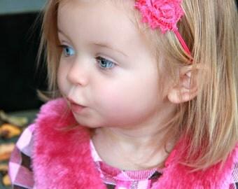 Mini Triple Hot Pink Shabby and Chic Frayed Fabric Rose Flower on Skinny Elastic Headband Perfect for Newborn