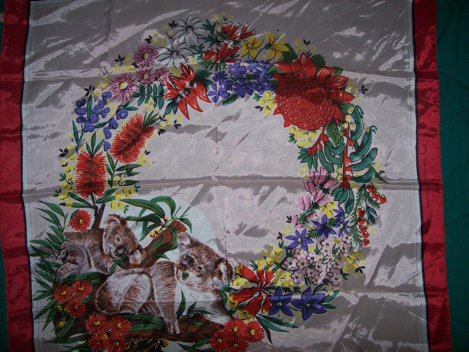 Vintage Silk Scarf Koala Bears Tropical Plants Flowers Wreath Red  Vintage Silk Scarves Australia