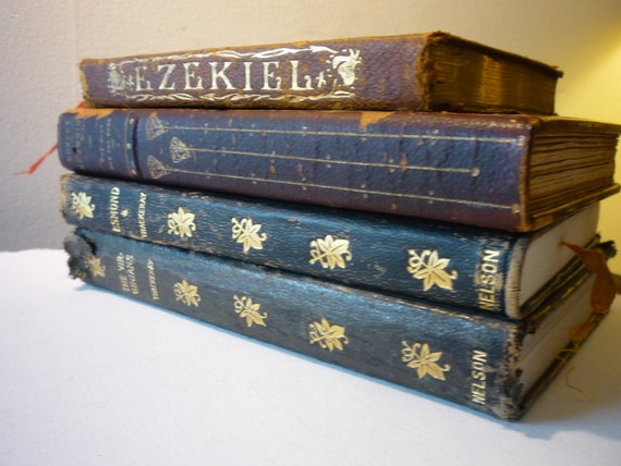Vintage . .  Instant Collection .. Luscious Leather Bound  Books dating back to 1890
