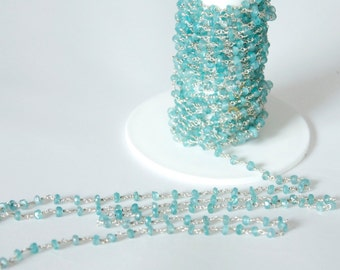 1 foot Apatite gemstone Sterling Silver Chain-Handwired with hand cut stones-Beautiful!