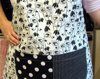 Black and White Reversible Women's Apron