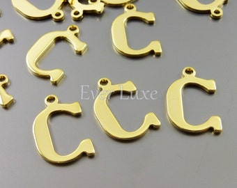 4 Letter C charms for personalized jewelry gold jewelry name charms for jewelry making inital necklaces 1907-BG-C (bright gold, C, 4 pieces)