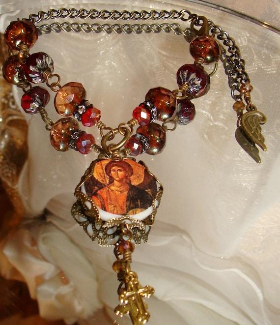 Archangel Michael picasso Rosary charm bracelet