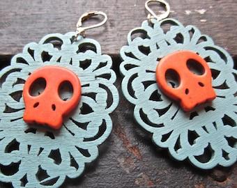 sugar skull Earrings,  Wood Earrings filigree,  turquoise blue wood and orange howlite.