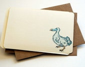 The Little Dodo Notecards in Light Blue, Aqua, and Cream - Set of 6 Flat Notecards and Kraft Envelopes