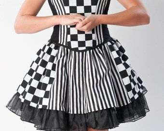 Harlequin Circus Costume Skirt with Petticoat,  Bodice, Neck Collar Goth Gothic Womens M L Halloween Costume Black White Striped Checkered