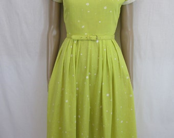 1950s Yellow and White Polka Dot Dress with Rhinestone Trim