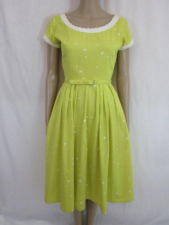 1950s Yellow and White Polka Dot Dress with Rhinestone Trim