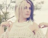 Peony Floral Crown, White Peony Bridal Hair Wreath, garden flower crown, ribbon tie headpiece