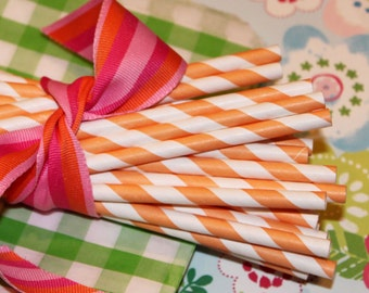 Paper Straws, MADE IN USA, 25 Orange Striped Paper Straws, Paper Drinking Straws, Retro Orange Paper Straws, Striped Straws, Mason Jar Straw